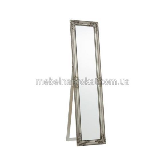 Зеркало напольное в серебристой оправе узкое