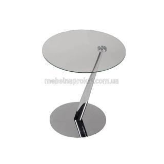 Стеклянные круглые столики на косой ножке